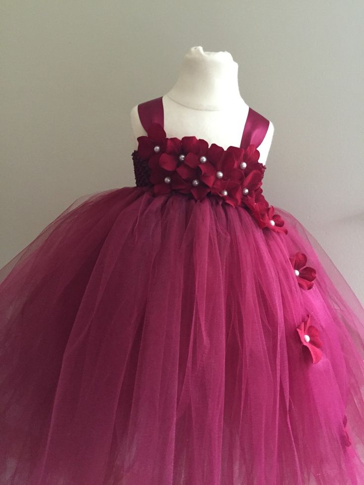 Burgundy maroon red wedding, flower girl toddler dress