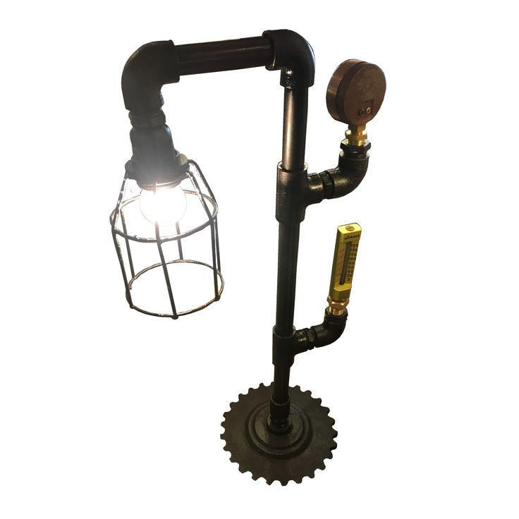 Pipes Table Lamp 2. A unique Table Lamp creatively assembled with pipes and gauges.