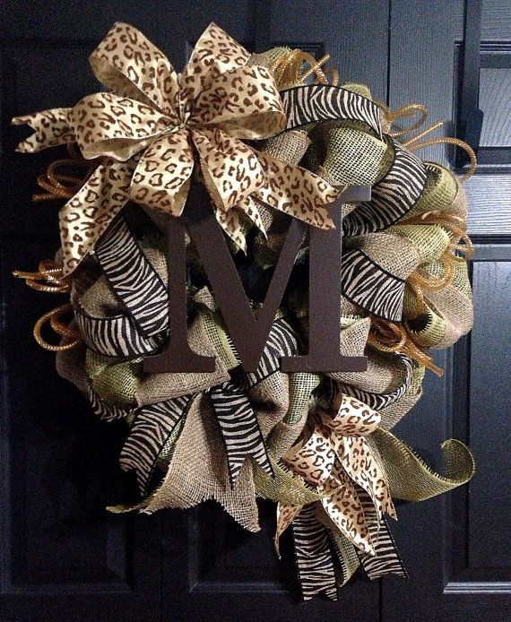 Burlap Initial Wreath by WreathsbyLaura on Etsy, $100.00
