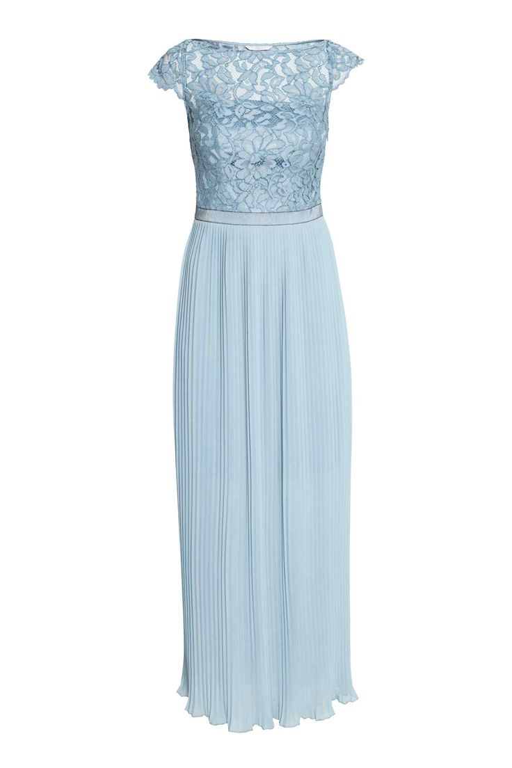 Dlouhé šaty s krajkou - Bleděmodrá - ŽENY | H&M CZ