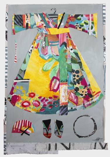 "Saatchi Art Artist Anna Hymas; Collage, ""Yellow Festive Dress"" #art"