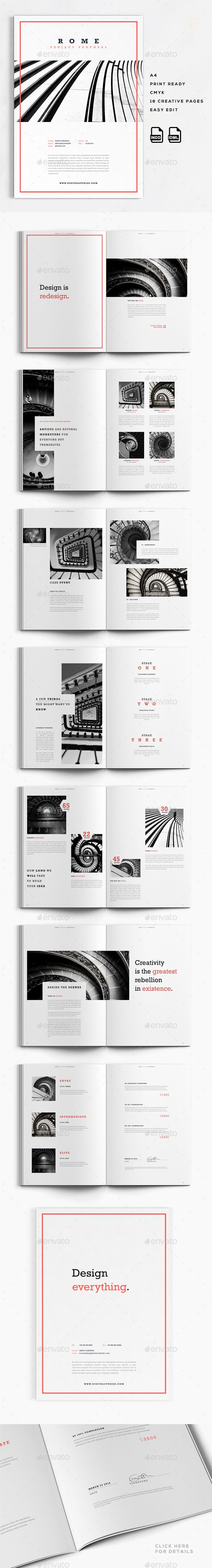 Rome is a 16 Pages Business Proposal Brochure ready for your business. FeaturesPrint Ready, CMYK, 300 DPI 16 Elegant, Modern, Crea