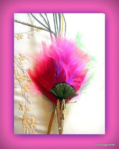 Peacock eye feather hat pin brooch stick pin Red Pink Gold Plate filigree Shaft
