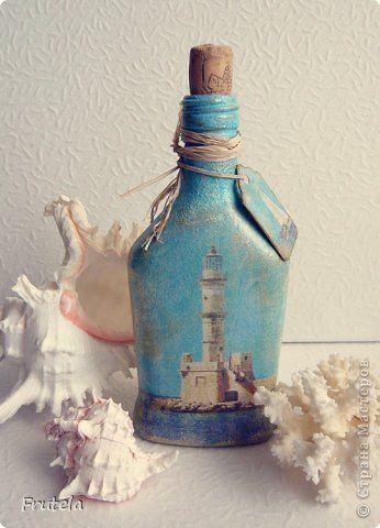 Декор предметов Декупаж Бутылочка Морская Бутылки стеклянные Клей Краска Салфетки фото 1