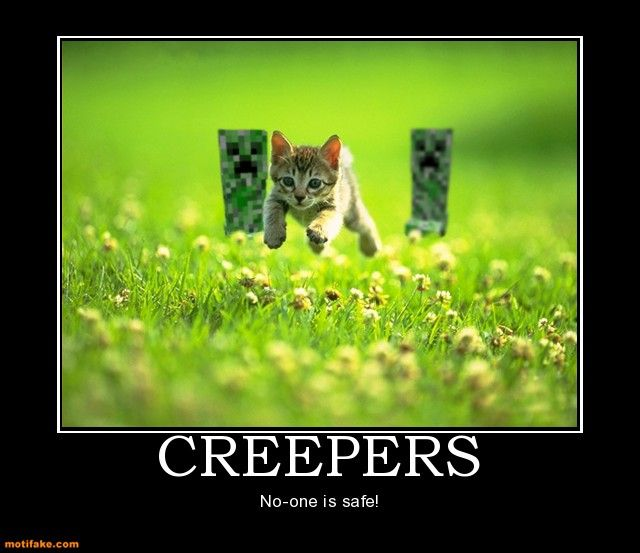 Hilarious demotivational poster about Minecraft Creepers, found on the Minecraft wiki.