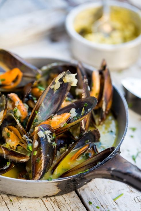 South African West Coast mussels with Café de Paris butter sauce. Be still my heart.