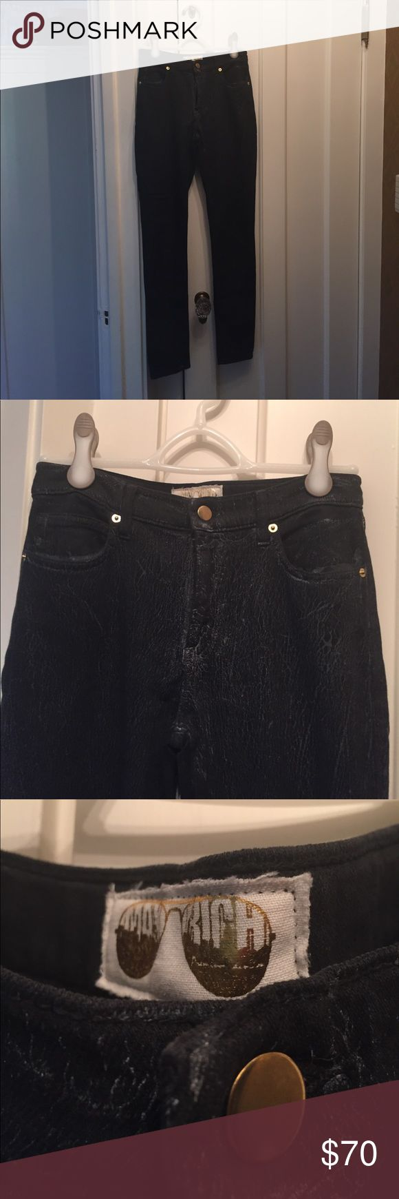 Max Rich Kardashian Soft Skinny Jeans Bought at DASH Kardashian Store.  Look like jeans but do not feel like them.  98% cotton 2 percent spandex. Soft and stretchy. Blackish navy with cracked silver design.  Comfy material and great condition, I just don't like skinny pants. Max Rich Pants Skinny