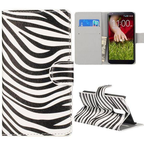 Zebra patroon booktype hoesje voor LG G2
