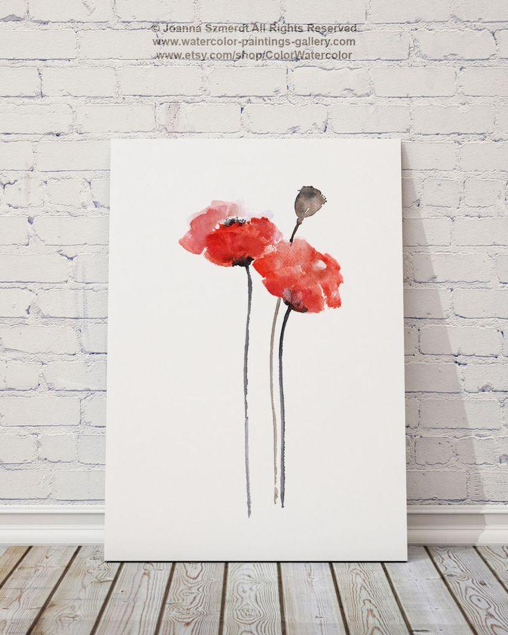 Tirage d'Art mur aquarelle coquelicot rouge par ColorWatercolor
