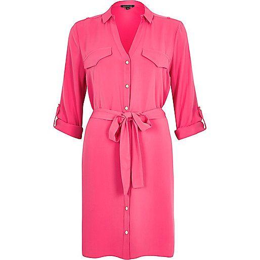 Ri £45 Bright pink shirt dress
