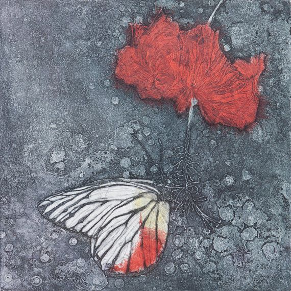 Painted Jezebel, Etching, Aquatint, chine colle, original print, limited edition, butterfly, flower, red, hibiscus, printmaking, delicate