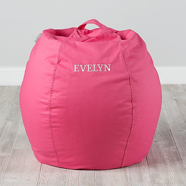Small Personalized Dark Pink Bean Bag Chair Cover | The Land of Nod