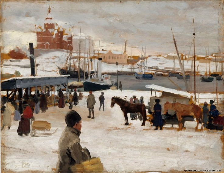 Winter Day in Helsinki Market Square (Albert Edelfelt - 1889) - Been here in the Summer with its stalls laden with Cherries and furs.