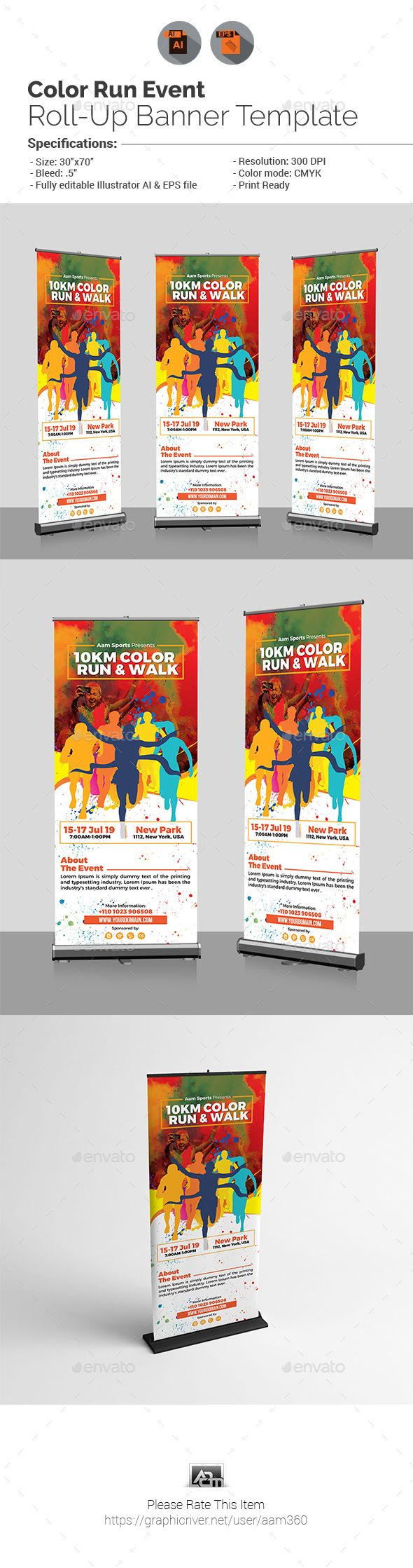 Color Run Event #Roll-Up #Banner - Events #Flyers Download here: https://graphicriver.net/item/color-run-event-rollup-banner/19375663?ref=alena994