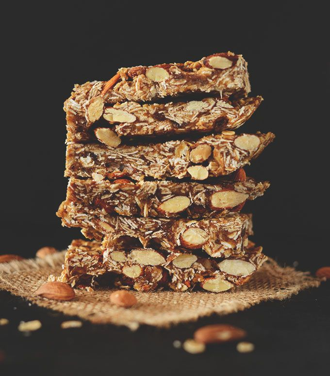 5 ingredient, no bake granola bars that are refined sugar free and so delicious! Healthy, quick and portable.