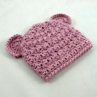 Bear Ear Beanie in Blue Wool crochet knit by cpercydesigns