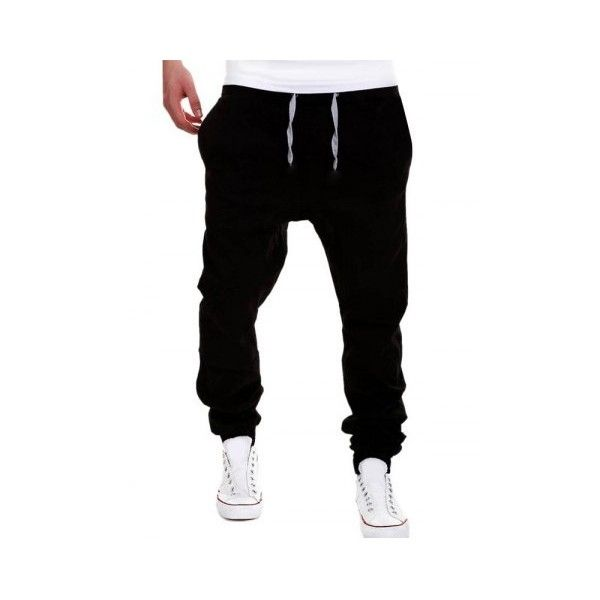Black Drop Crotch Drawstring Double Welt Pockets Jogger Pants (€15) ❤ liked on Polyvore featuring pants, drop-crotch pants, drop crotch trousers, drawstring trousers, draw string pants and drop crotch jogger pants