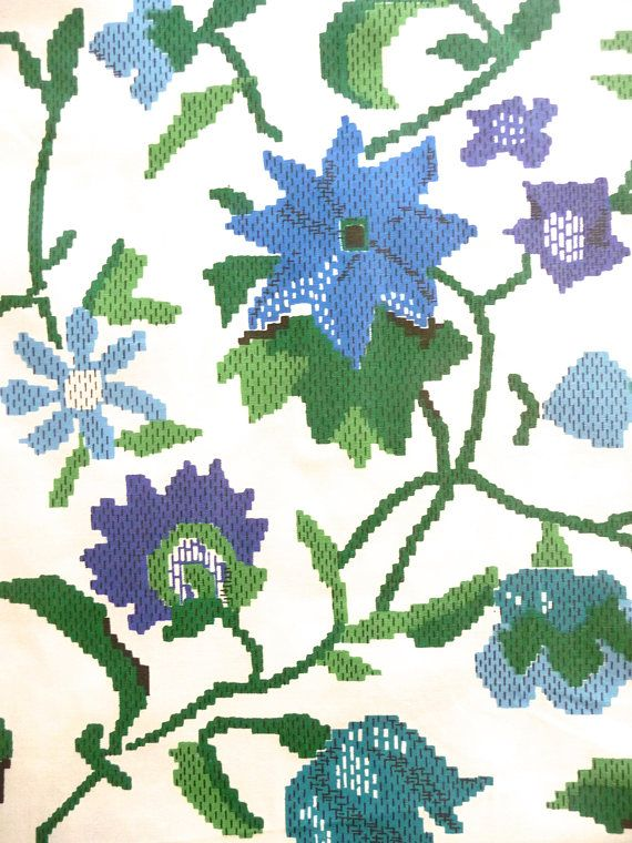 Blue Green Floral Woven Cotton Fabric Vintage New