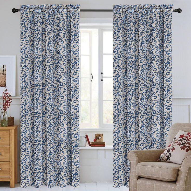 Scroll Jacquard Damask Semi-Sheer Rod Pocket Curtain Panels