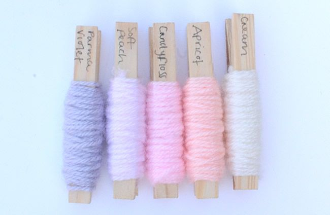 Baby colour scheme ideas using Stylecraft Yarn's Special DK collection - Parma Violet, Soft Peach, Candyfloss, Apricot and Cream. Post from This Little Space of Mine