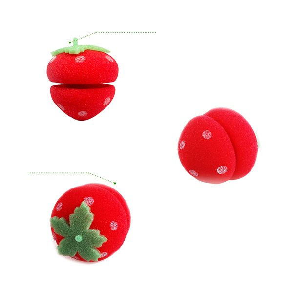6Pcs/Lot Soft Foam Strawberry Ball Sponge Hairdisk Curlers Rollers Bun HairdoTool