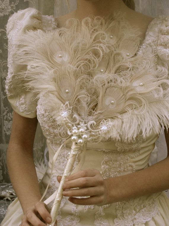 Ivory curled peacock and ostrich feather fan bouquet for Wedding dress with ostrich feathers