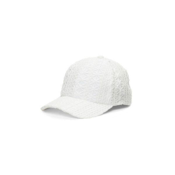 Crochet Baseball Hat ($9.99) ❤ liked on Polyvore featuring accessories, hats, crochet baseball hat, baseball hats, baseball cap hats, crochet baseball cap and brimmed hat
