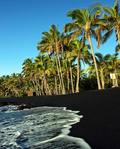 Black sand beach in Maui, Hawaii