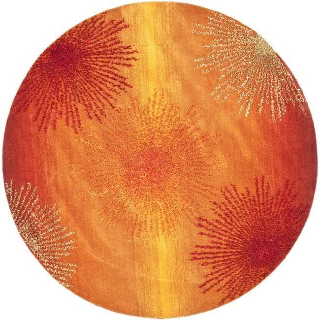 Safavieh Handmade Soho Burst Rust New Zealand Wool Rug Round)   Overstock™  Shopping   Great Deals On Safavieh Round/Oval/Square