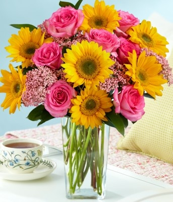 Sunflower And Pink Rose Bouquet Best 25+ Sunflo...