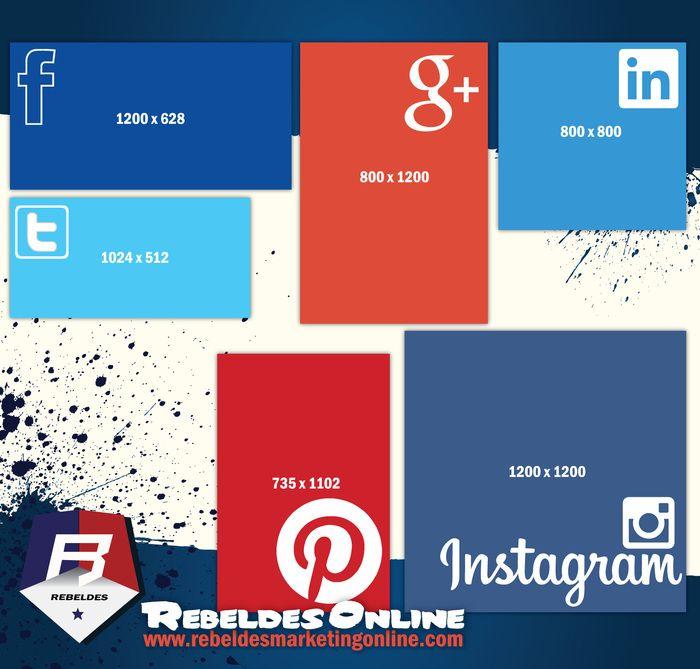 #diseño #design Medidas de las imágenes en las #redessociales. #socialmedia #facebook #twitter #google+