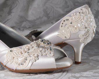 abd9671e43b Low Heel Wedding Shoes- FREE Custom Colors-Women's Vintage Wedding ...