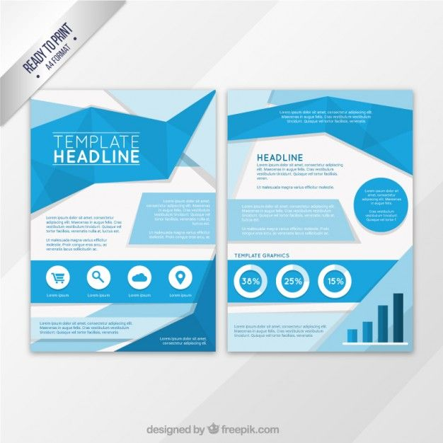 Blue origami flyer template Free Vector