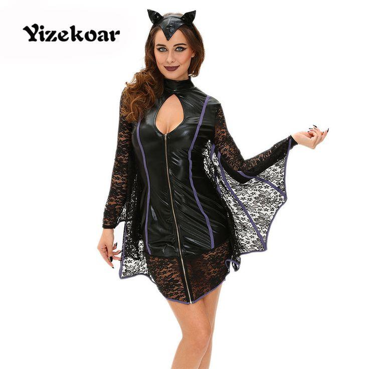 2017 Real Disfraces Feiterawn New Sexy Flirty Vamp Bat Costume Women Halloween Black Party Zipper Female Apparel Dl89023 #Affiliate