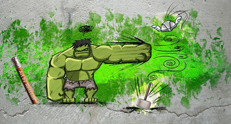 PUNY GOD!  #Hulk #Avengers #RenzoRF #2BHeroes #Marvel Comics