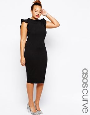ASOS CURVE Bodycon Dress With Frill Sleeve