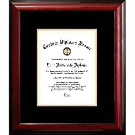 Campus Images 8x10 Classic Mahogany Certificate Frame with Black and Gold Mats, Brown