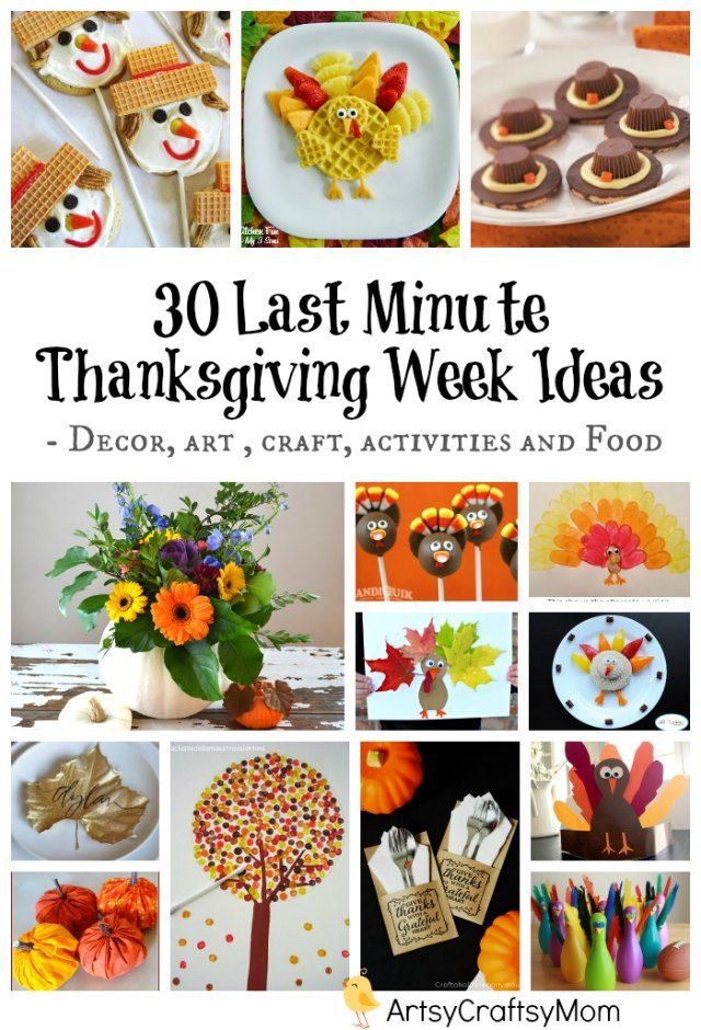 With Thanksgiving right around the corner, 30 Last Minute Thanksgiving Week Ideas - Decor inspiration - Fall wreath, table settings, Thanksgiving art ideas for kids, Thanksgiving craft for kids ,  Fun Thanksgiving activities, gratitude  and fun treats