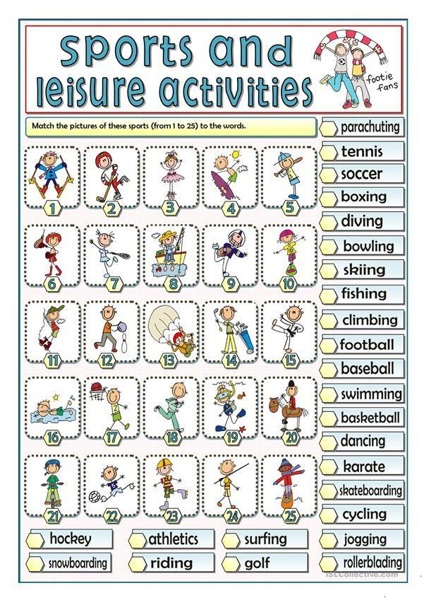 Sports And Leisure Activities Leisure Activities English Activities Go Math Kindergarten