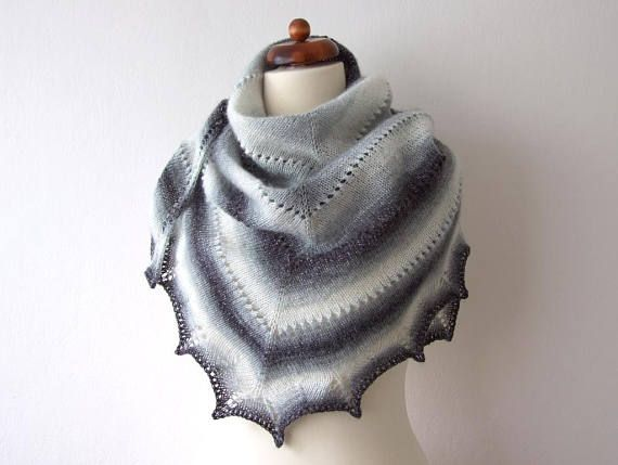 black and white scarf shimmering winter shawl hand knit