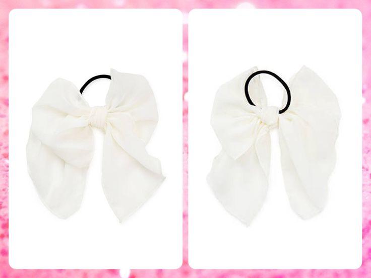 ***AGOTADO***Forever 21  Código: FA-28 #Georgette bow #hair elastic Color: Cream Precio: $8,25(¢4.500) Para pedidos y consultas llamar al teléfono 8963-3317 o al email maya.boutique@hotmail.com.