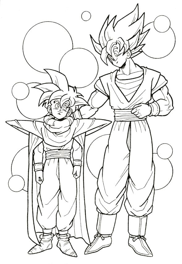 Dragon Ball Z Goku And Gohan Super Saiyan Coloring Page