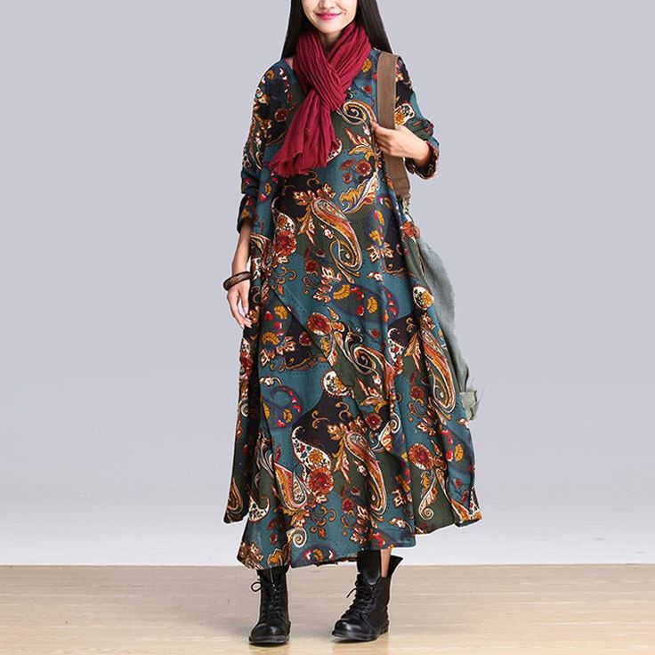 2015 Autumn Spring National Trend Print Long-sleeve Winter Dress Female Loose Linen Dress Plus Size Women's Dresses Big 5009