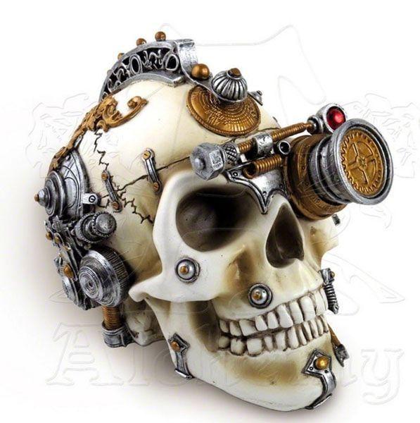 Este cráneo decorativo tiene un compartimiento oculto para el almacenamiento secreto