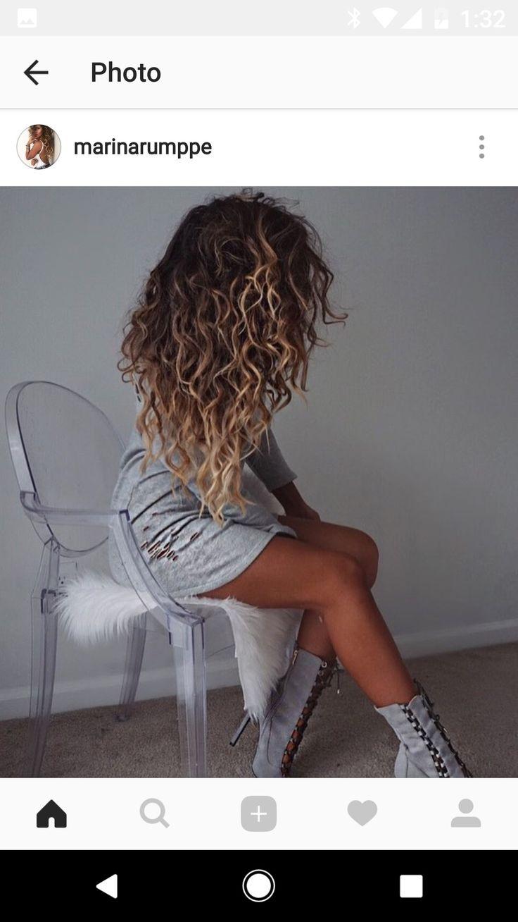 Curly balayage brown blonde hair