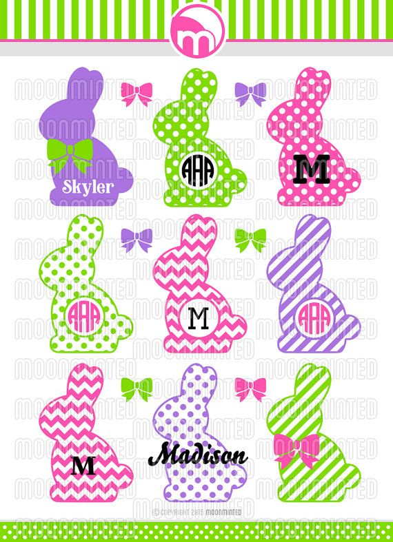 Easter Bunny Monogram Frames SVG Cut Files for Vinyl by MoonMinted
