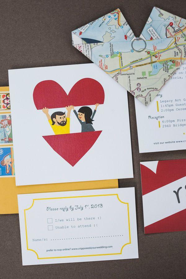 graphic design wedding invitations, photo by Ameris Photography http://ruffledblog.com/victoria-art-gallery-wedding #stationery #illustration
