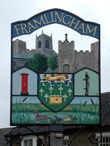 Framlingham Town sign, Norfolk, England, UK