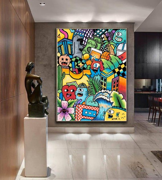 Cartoon Wall Art Colorful Wall Decor Canvas Wall Hanging Pop Art Print Street Art Decor Oversiz In 2020 Graffiti Wall Art Murals Street Art Summer Wall Art