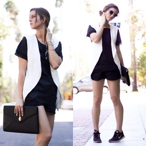 Michelle Madsen - Quay Sunglasses, Zara Vest, Triggerstate.Com Top, Triggerstate.Com Clutch, Nike Sneakers - BLACK & WHITE